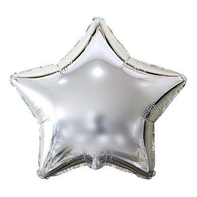Balão Metalizado Estrela Prata- 45 centímetros