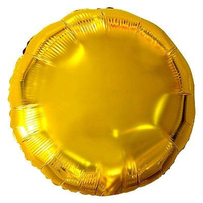 Balão Metalizado Redondo Dourado - 45 centímetros