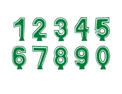 Vela Numeral 3D Verde