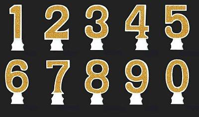 Vela Glitter Numeral Dourada