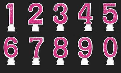 Vela Glitter Numeral Pink