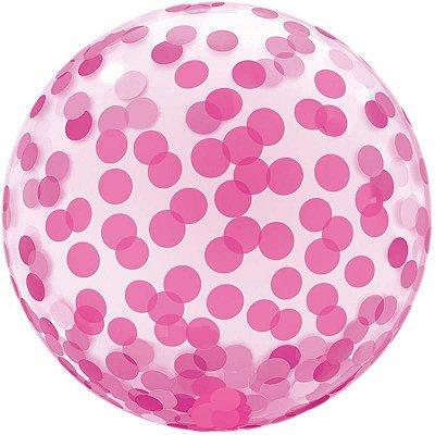 Balão Bubble Estampado Rosa 45 centímetros