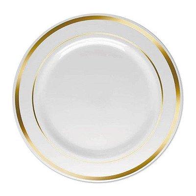 Prato de Refeição 26cm Borda Dourada - 6 unidades