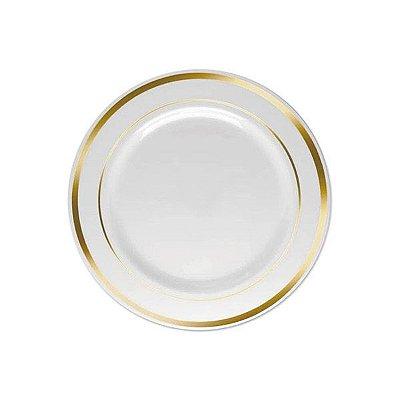 Prato de Sobremesa Luxo Dourado - 6 unidades