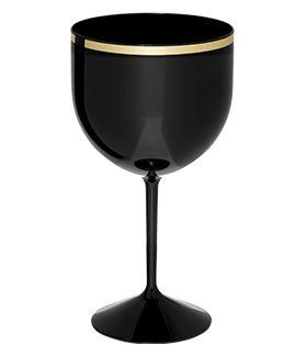 Taça de Gin Preta com Borda Dourada