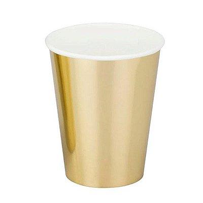 Copo de Papel Dourado - 10 unidades