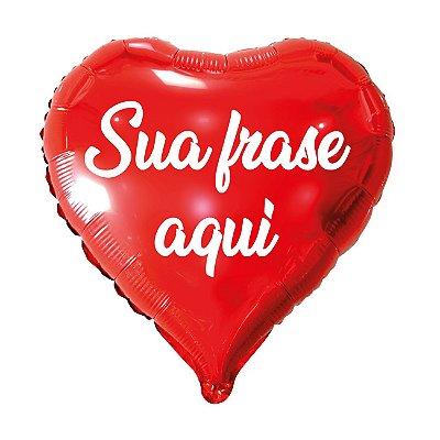Balão Metalizado Coração Personalizado - Letra Alegra Branca