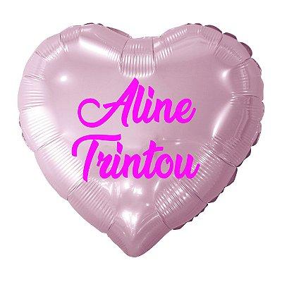 Balão Metalizado Coração Personalizado - Letra Alegra Pink
