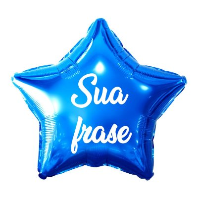 Balão Metalizado Estrela Personalizado - Letra Alegra Branca