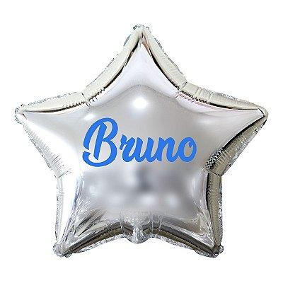 Balão Metalizado Estrela Personalizado - Letra Alegra Azul
