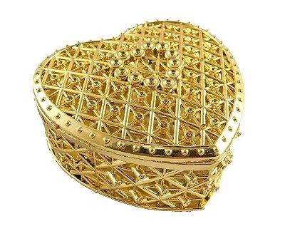 Porta Jóias Coração Dourado