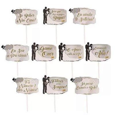 Plaquinhas para Foto Casamento - 10 unidades