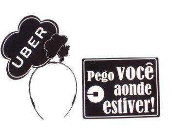 Plaquinha e Tiara para Foto Uber
