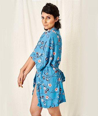 Kimono floral azul