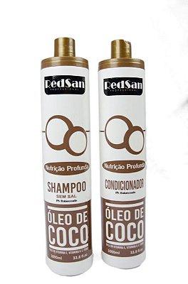 Shampoo E Condicionador Coco Kit 1lt Redsan Professional