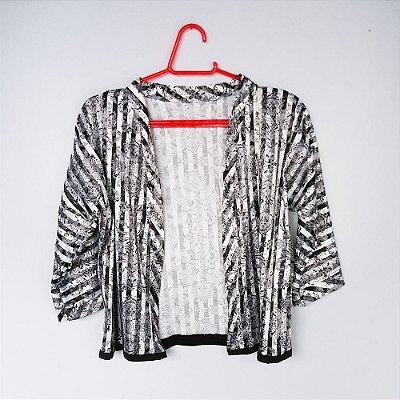 Kimono Preto e Branco - Tam M