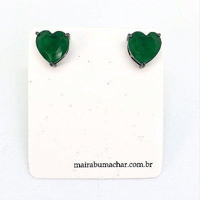 Brinco Coração 1,0 cm Esmeralda