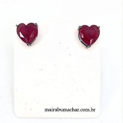 Brinco Coração 1,0 cm Rubi