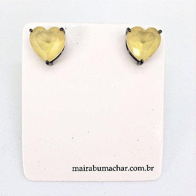 Brinco Coração 1,0 cm Citrino