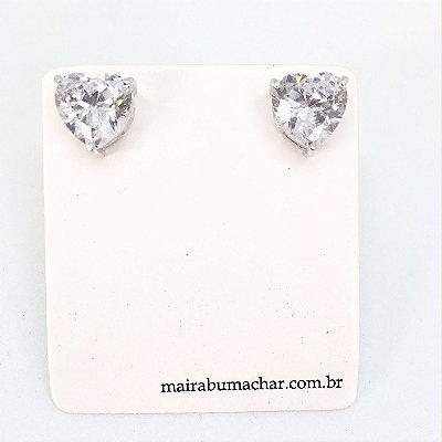 Brinco Coração 1,0 cm Cristal