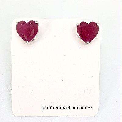 Brinco Coração 1,0 cm Rubi Rodio