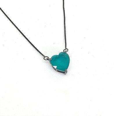 Colar Coração Rodio Negro  1,0 cm Cristal Azul