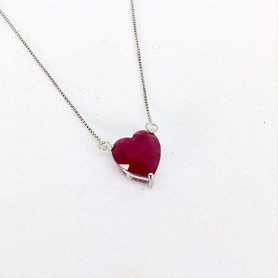 Colar Coração 0,1 cm Rubi Rodio