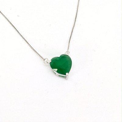 Colar  Coração 1,0 cm Esmeralda