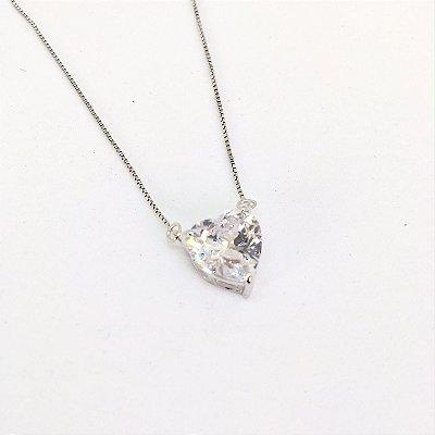 Colar Coração 1,0 cm Cristal