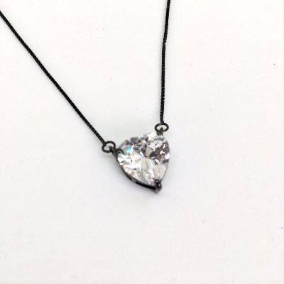 Colar Coração 1,0 cm Rodio Negro