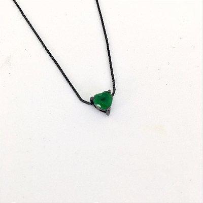 Colar Ponto de Luz Coração Esmeralda