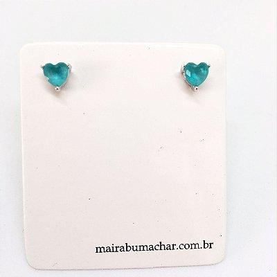 Brinco Ponto Coração Cristal Azul