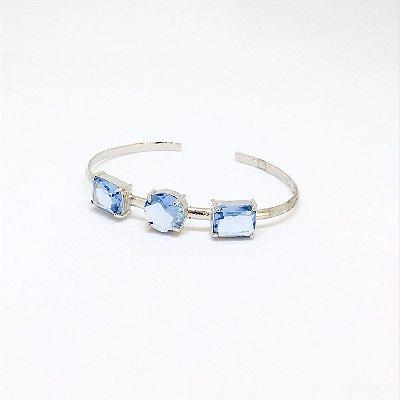 Bracelete Pedras Topázio Azul