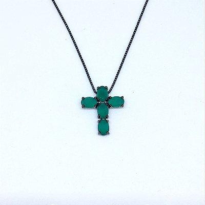 Colar Cruxifixo Esmeralda Negro