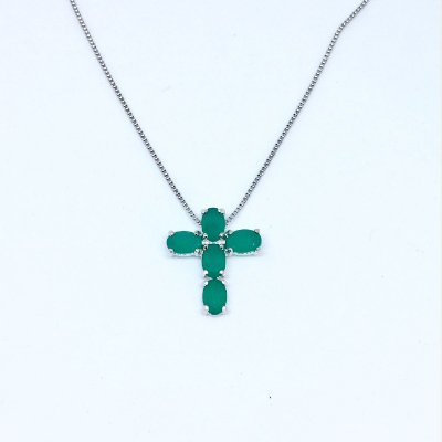 Colar Cruxifixo Esmeralda Rodio