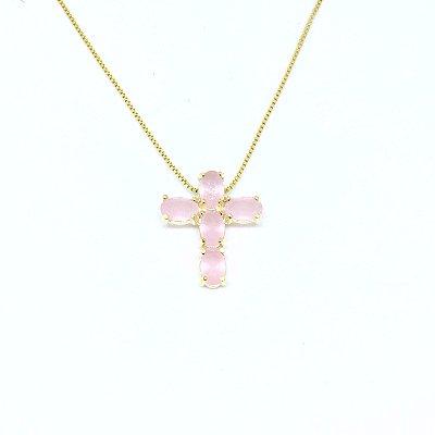 Colar Crucifixo Quartzo Rosa
