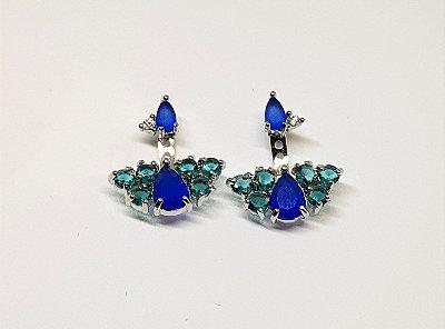 Brinco cacho earjacked azul