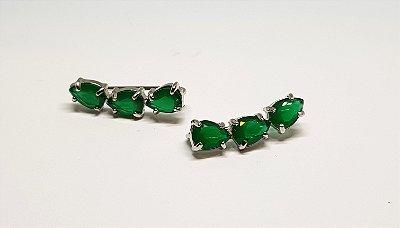 Earcuff 3 pedras esmeralda