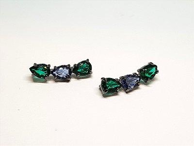 Brinco earcuff 3 pedras esmeralda e tanzanita
