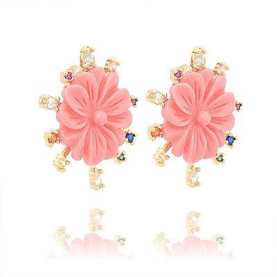 Brinco flor Coral