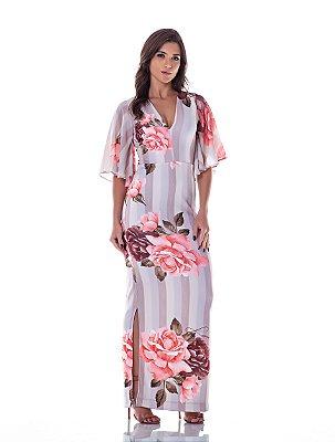 Vestido Longo Floral Rosa