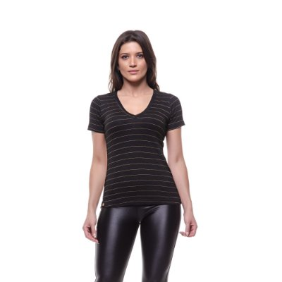 BLUSA BABY LOOK LISTRA GOLD