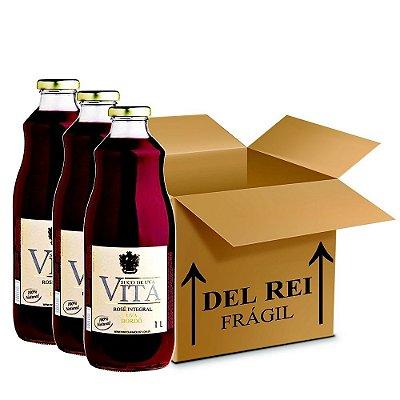 Suco De Uva Vita Rose Integral 1l - Box Com 36 Unidades