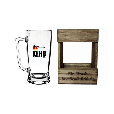 Caneca de Vidro Kerb 500ml com Embalagem de Madeira Personalizada