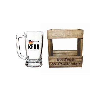 Caneca de Vidro Kerb 340ml com Embalagem de Madeira Personalizada