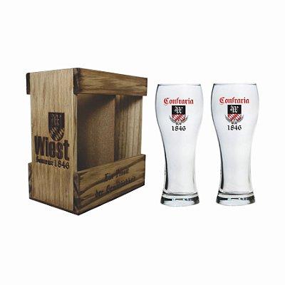 Kit Weiss - Embalagem De Madeira Personalizada Com 2 Copos De Vidro 300ml Para Cerveja