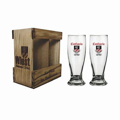 Kit Helles - Embalagem De Madeira Personalizada Com 2 Copos 300ml Para Cerveja