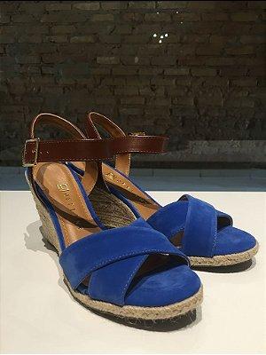 Sandália Anabela Nobuck Azul Claro Offline