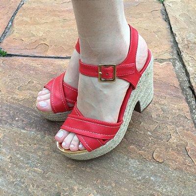 Sandália Plataforma Vermelha com Salto de Corda Suzana Santos