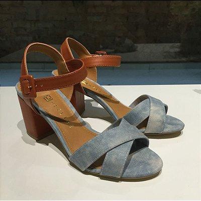 Sandála Jeans Tie Dye com Salto Marrom Offline